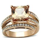 Stainless Steel Rose Gold IP Champagne Color Square Cubic Zirconia Ring Sz 5-10