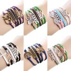 Vintage Multilayer Love Heart Bracelet Women Handmade Braid Leather Chain Bangle