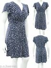 WOMENS NEW BLUE WHITE V NECK KNEE LENGTH DRESS SIZE 18 TO 26 CAP SLEEVES