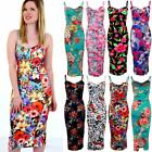 Ladies Strappy Floral Flower Print Knee Length Women's Bodycon Fitted Midi Dress