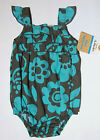 NWT: New Carter's Brown & Blue Floral Creeper Romper Outfit, NB to 3 mo, Rtl $18