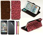 Leopard Luxury Faux Suede Wallet Card Holder Stand Case For iPhone 5+Film+Stylus