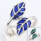 A1-R159 Green & Blue Glaze 18K White Gold Plated Leaf Ring Size 5.5-9 No Stone