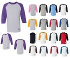 MENS BASEBALL JERSEY T-SHIRT, 3/4 SLEEVE, PRESHRUNK 100% COTTON S M L XL XXL 3XL