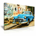 RETRO CAR in Havana Cuba Vintage Canvas Wall Art Picture Print ~ More Size