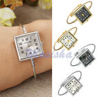 Women Alloy Metal Square Dial Quartz Bracelet Bangle Steel Wire Band Wrist Watch