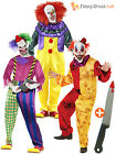 Mens Scary Killer Clown Costume, Mask + Knife Adult Halloween Horror Fancy Dress