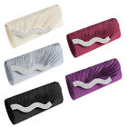 Pleated Rhinestone Evening Bridal Clutch Bag Party Ball Wedding Purse Handbag ST