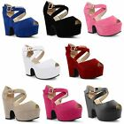 Womens Ladies Ankle Strap Platform Chunky High Heel Peep Toe Sandals Shoes Size