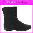 NEW LADIES FLAT HEEL FASHION WINTER CASUAL  ZIP UP  MID CALF BOOTS SIZES UK 3-8