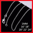 """Wholesale Price 925 Sterling Silver Filled 1mm Rolo Link Necklace Chain 16 - 24"""""""