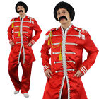 RED SERGEANT PEPPER MENS FANCY DRESS COSTUME 1960S ENGLISH BOY ROCK BAND OUTFIT