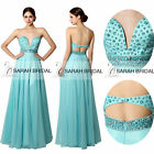 STOCK Beaded Plunging Backless Long Prom Evening Dresses Pageant Party Formal