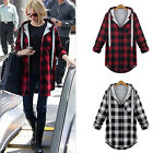 All Size Women Ladies Coat Jacket Plaid Long Sleeve Hoodies Button Loose Outwear