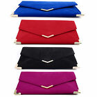 NEW CLUTCH BAG EVENING BAG SUEDE FAUX LEATHER ENVELOPE PROM PARTY BAG HANDBAG