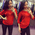 Sexy Lady Spring Summer Autumn Casual Tops Blouse Sexy Perspective Clothes Red