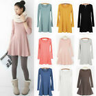 2014 New Women Solid Color Long Sleeve Crew Neck Mini Dress Bottoming Skirt USTB