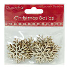 16 DOVECRAFT NATURAL WOODEN CHRISTMAS TREE SNOWFLAKE CARD MAKING EMBELLISHMENTS