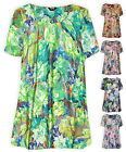 Womens Plus Size Swing Smock Printed Floral Top Short Sleeve Ladies New 16 - 32