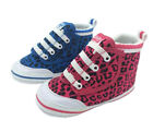 Girls Infant Shoes My First Volleys Hi Top Pink or Blue Leopard 1-6 canvas velcr