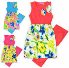 Girls Printed Bright Floral Dress And Legging Set New Kids Girls Summer Outfits