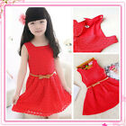 Girls Skater Dress Kids Lace Christmas Party Dresses Belted Age 4 to 12 Years