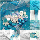 FROZEN Snowflakes, Fabrics, Ribbons and Buttons - Aqua & White themed