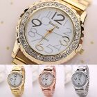 Women Mens Ladies Rhinestone Crystal Alloy Stainless Steel Rose Gold Wrist Watch