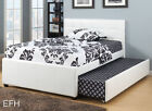 NEW ADENA II CONTEMPORARY WHITE FAUX LEATHER TWIN / FULL PLATFORM BED W/ TRUNDLE