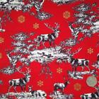 Christmas Scene stag/deer RED fabric 100 % cotton per 1/2 mtr or per FQ