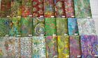 "MORE NEW** Unique Embroidered jewel tone Batik fabric 100% cotton 1/2 yd x 44"" w"