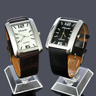 Casual Rectangle Case Black Brown Leather Band For Mens Quartz Wrist Watch