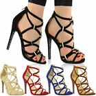 WOMENS LADIES HIGH HEELS STILETTOS CUT OUT ANKLE STRAPPY PEEP TOE GLADIATOR SIZE