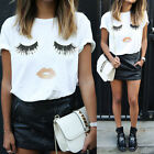 New Fashion Womens Ladies Eyelash Summer Loose Tops Short Sleeve Blouse T Shirt