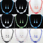 Free shipping Glass Crystal Faceted Beads Necklace Earrings SET Charm SBM072