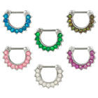 Bold Steel Created Opal Paved Septum Clicker Stainless Steel 16G