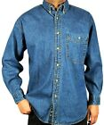 Men's Long-Sleeve Denim Shirt, Relaxed Fit Stone Washed Button down Collar M02