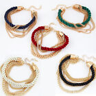 Gold Chain & Cord Bracelet - Different Colours Avail' Surf Beach Folk Jewellery