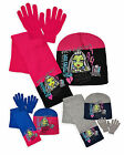 Girls Monster High Three Piece Set New Kids Winter Hat Scarf And Gloves Set