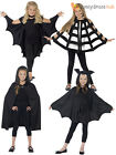 Kids Halloween Black Hooded Bat Spider Cape Cloak Boys Child Fancy Dress Costume