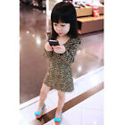 New Girl Dress Leopard Long Sleeves Dress Round Neck Cute Girls Spring Fall Dres