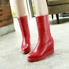 Women's New Hidden Wedge Heel Pull On Pointy Toe Riding Boots Date Shoes US4.5-8