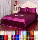 19 Momme 100% Pure Silk  Fitted & Flat Sheet Pillowcase Set Size Queen