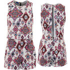 Womens Sleeveless Aztec Floral Textured Crepe Flare Open Back Romper Playsuit