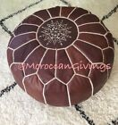 100% Leather Handcrafted Moroccan Pouffe Chocolate brown