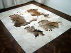 NEW COWHIDE PATCHWORK RUG LEATHER CARPET cu_491