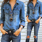 Retro Fashion Women Blue Jean Denim Long Sleeve Casual Shirt Tops Blouse Jacket
