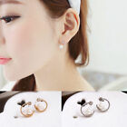 1 Pair Women Czech Auger Gold Silver Plated Circle Pearl Ear Stud Earrings Gift