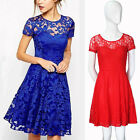 Sexy Womens Summer Crew Neck Short Sleeve Lace Evening Party Cocktail Mini Dress