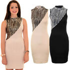 Womens High Neck Sequin Contrast Party Evening Mini Slim Fit Bodycon Dress